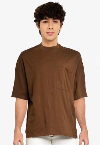 Electro Denim Lab brown Pocket Oversize Tee DFBE7AA76AE59AGS_1