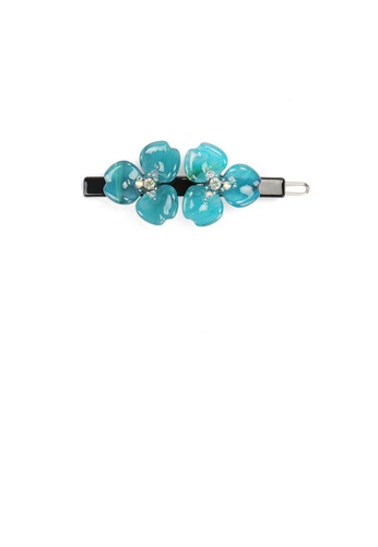 Glamorousky blue Fashion Temperament Blue Double Flower Hair Clip with Cubic Zirconia 2D9C2AC6022AB8GS_1