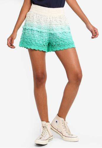 Brave Soul green Crochet Dip Dye Shorts 4341BAA29F1507GS_1