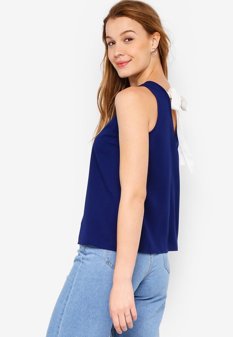 White BASICS Tape Sleeveless ZALORA Basic Navy Top Cut In zq10f