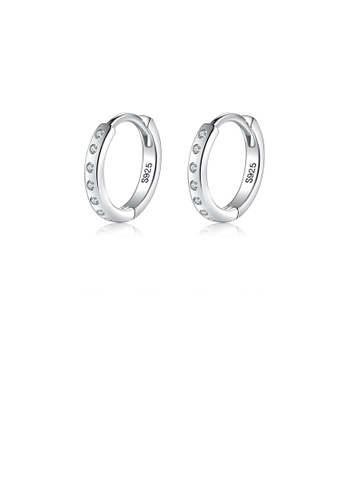 Glamorousky white 925 Sterling Silver Simple Temperament Geometric Circle Stud Earrings with Cubic Zirconia BDC31ACCDBDC48GS_1