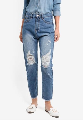 ZALORA blue Boyfriend Jeans With Rips FE1A7AA0A30AFCGS_1