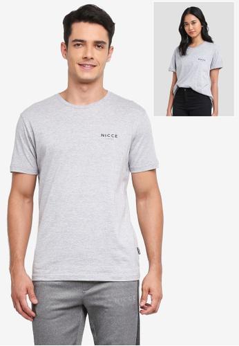 Nicce London grey Chest Logo T-Shirt 75080AA94A5D65GS_1