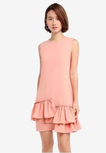ZALORA pink Ruffle Hem A Line Dress DC751AAE6CA089GS_1