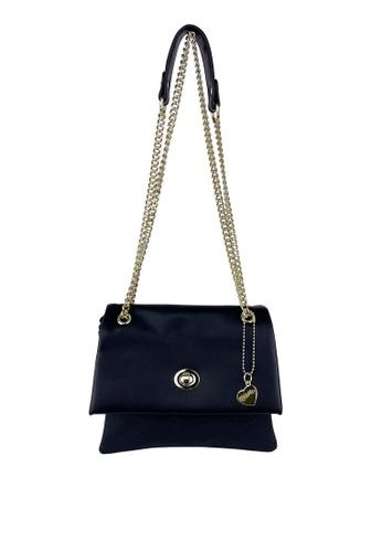 Mel&Co black Faux Leather Chain Sling Bag FB097AC9DF3D5BGS_1