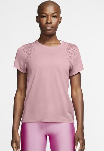 Nike red Women's Run Short-Sleeve Top 8213BAABC88AE0GS_1