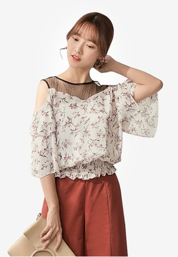 Tokichoi multi Lace Mesh Neck Floral Top 1797FAA211F876GS_1