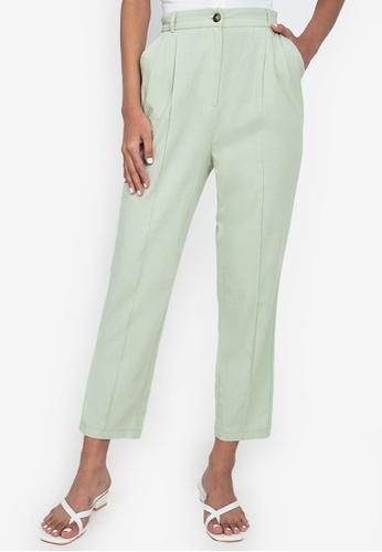 ZALORA BASICS green Back Elastic Pleated Pants 38105AA34F36E0GS_1