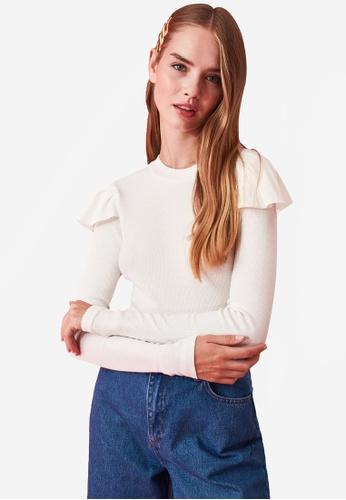 Trendyol white Ruffle Shoulder Knit Top 47688AA2F394A1GS_1