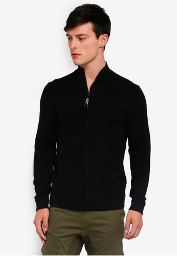 Only & Sons black Parker Zip Through Cardigan 4D095AA69740A1GS_1
