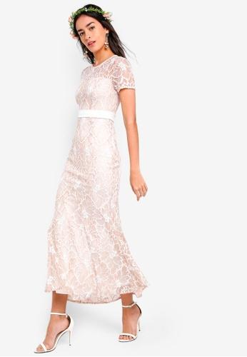 ZALORA pink Bridesmaid Two Tone Lace Midi Dress 7244EAAEBF71E2GS_1