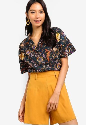 ZALORA green and multi Kimono Sleeves Shirt 31790AA521DC67GS_1