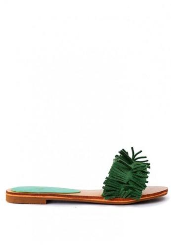 HDY green Rosey Slides Tassel Sandals ADB5DSH8BA3C7CGS_1