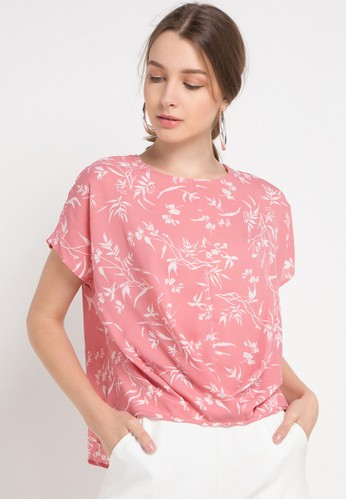 KORZ pink Floral Blouse With Pleats DC9CFAA9D69AE8GS_1