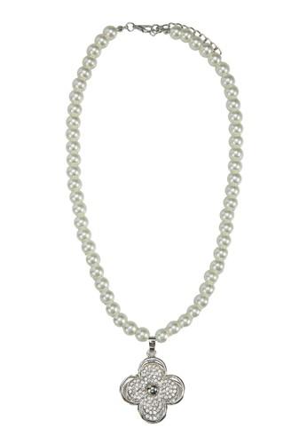 四葉草水鑽珍珠項鍊, 飾esprit 手錶品配件, 飾品配件