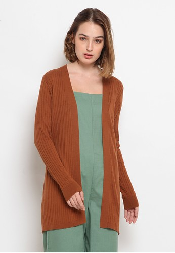 et cetera brown Mid Thigh Leg Cardigan 32734AA4D3A546GS_1
