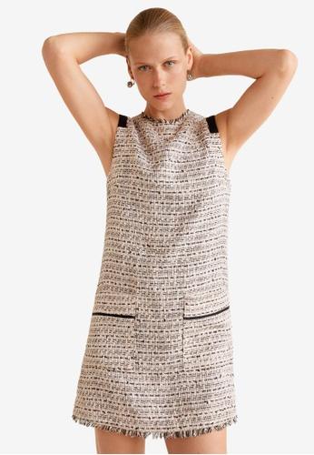Mango beige Tweed Dress 8F422AADB35FC8GS_1
