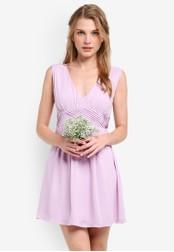 ZALORA purple Bridesmaid Cross Front Mini Dress AC06EAAF7E9F2CGS_1