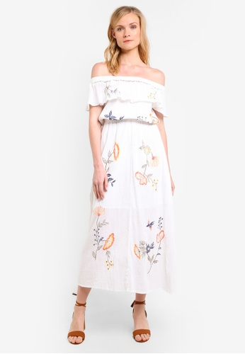 ZALORA white Off The Shoulder Embroidered Maxi Dress 213FAAA226CD2BGS_1