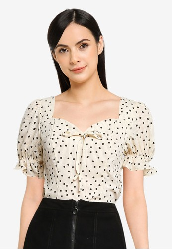 MISSGUIDED beige Spot Frill Cuff Bow Detail Top 931C7AAA53A528GS_1