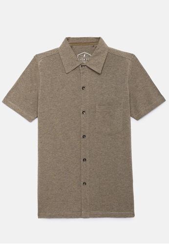 ZALZA beige Mike 100% Organic Cotton Boys Full Open Short Sleeve Tee - Oatmeal 86098KA3150BF2GS_1