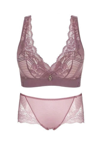 ZITIQUE pink Women's Sexy 3/4  Cup Push Up Lace Lingerie Set (Bra And Underwear) - Dusty Rose 90C03US2382682GS_1