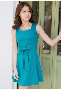 [IMPORTED] Elegant Posture Bow Flare Dress - Blue