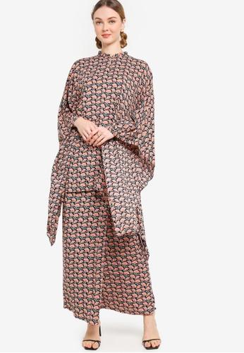 Lubna blue Kimono Sleeve Kurung 5482EAA04E75A6GS_1