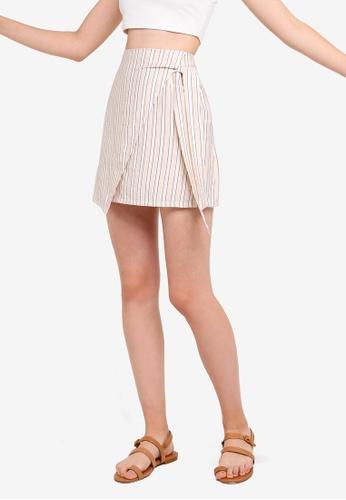 Something Borrowed 白色 and 米褐色 綁帶交叉造型裙 99F01AA39B4C44GS_1