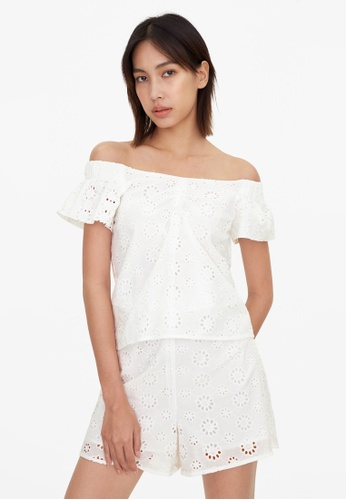 Pomelo white Off Shoulder Loose Eyelet Top - White A63BFAAD53F6DEGS_1
