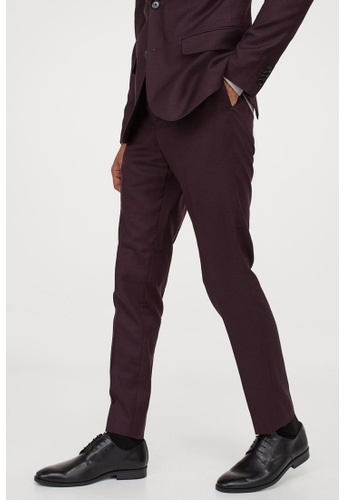 H&M red and purple Skinny Fit Suit Pants 153EAAA0E3DD6CGS_1