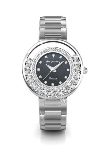 Her Jewellery black Swarovski® Crystals - Glamour Watch (Black) (18K White Gold Plated) Her Jewellery HE581AC0RDP4MY_1