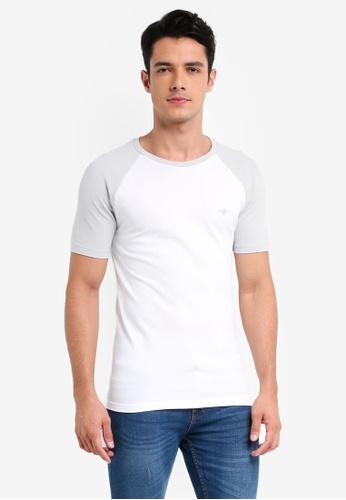 River Island white Pique Raglan T-Shirt 09AB2AAEB02ED0GS_1