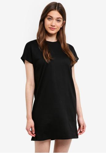 Something Borrowed black Drop Shoulder Tee Dress 6F04DAAF5E47A8GS_1