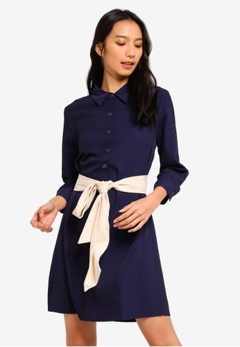 ZALORA navy Shirt Dress With Self Tie FE2B6AA86214B4GS_1