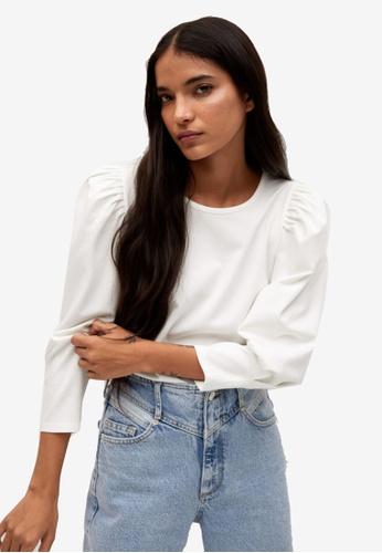 Mango white T-Shirt With Puffed Sleeves 0566CAAE79AB42GS_1