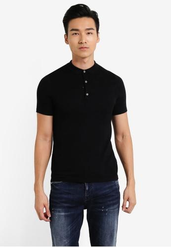 Burton Menswear London black Black Textured Knitted Polo Shirt BU964AA37JTMMY_1