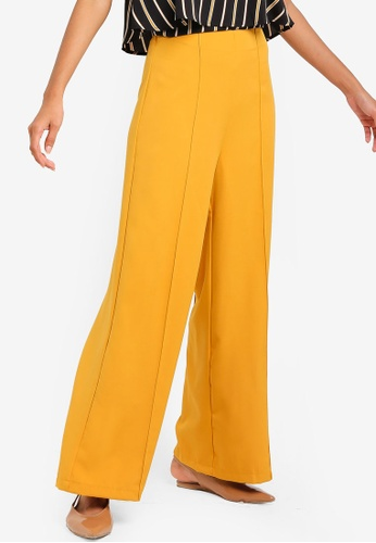 ZALORA BASICS yellow Basic High Waist Palazzo Trousers ADDE0AAE56CD82GS_1