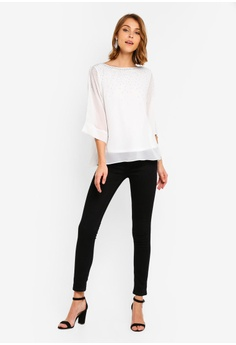 6c14351f33a 15% OFF Wallis Petite Ivory Sparkle Layered Top RM 229.00 NOW RM 194.90  Sizes S M