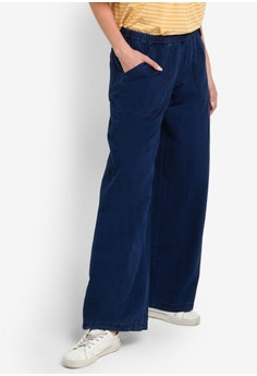 Ladies Woven Drawstring Denim Pants