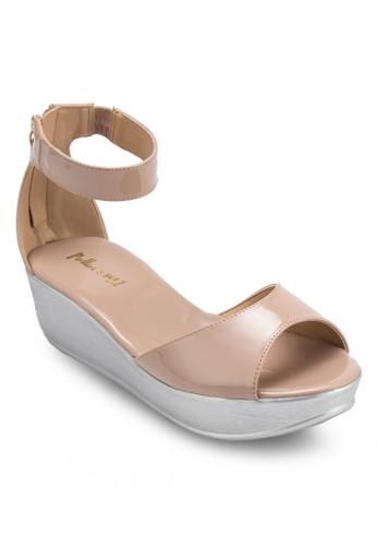漆面繞踝esprit au厚底楔形涼鞋, 女鞋, 楔形涼鞋