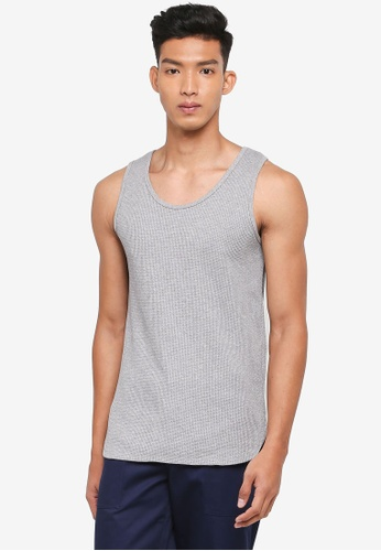 AT TWENTY grey Waffle-Knit Jersey Vest 3A037AA82500C9GS_1
