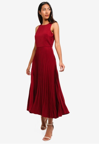 BYSI red Pleated Frill Maxi Dress F6D05AA4734805GS_1