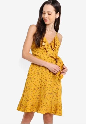 d9e9055866 Something Borrowed yellow Ruffled Hem Cami Wrap Dress E56FEAAA7E1F5DGS_1