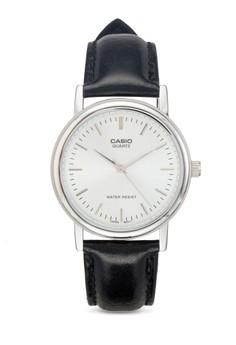 【ZALORA】 MTP-1095E-7ADF 經典皮革圓錶