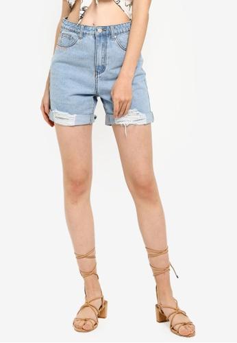 Something Borrowed 藍色 刺繡縮口丹寧 短褲 E3D48AA03AEF17GS_1