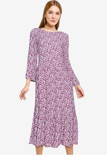 GAP purple and multi 3/4 Sleeve Flounce Midi Dress D6551AA57ED3DDGS_1