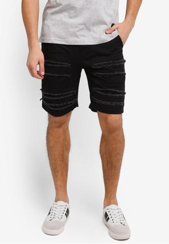 Flesh IMP black Distressed Groot Shorts FL064AA0SJO1MY_1