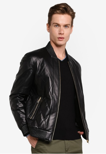 Gay Giano black Leather Bomber Jacket 89A4AAA9E15277GS_1