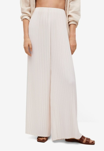 Mango white Pleated Palazzo Trousers 6CCE8AA9DB131DGS_1